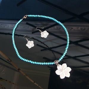 Jewelry - Shell Flowers n Blue Howlite Beads